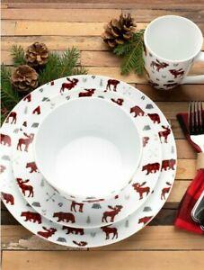16 Pc Dinnerware Wildlife Set Elk Bear Plate Bowl Mug Kitchen Dish Country Cabin