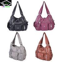 Fashion Women's Washed Tote Shoulder Bag Ladies Handbag Cross Body Casual Purse