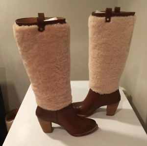 UGG Australia Ava Exposed Fur Chestnut/Natural Boot Women's U.S. sizes 5,7,8 NEW