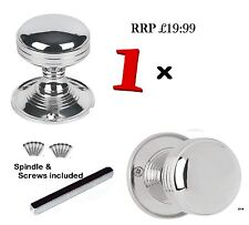 1 SETS Mortice ROUND REEDED SPRUNG DOOR KNOBS Chrome Silver Interior Handles D30