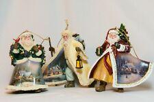 Set#14 Thomas Kinkade 3 Old World Santa Christmas Ornament. Ashton Drake Gallery