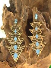 NATIVE AMERICAN NAVAJO EARRINGS BLESSED TURQUOISE GOLDEN ARROW DESIGN ATLANTIS