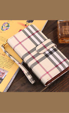 Plaid or Checkered Luxury Fashion Deluxe Leather Wallet Case + Tempered Glass SP