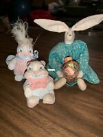 3 Small Vintage HANDMADE Rabbit Bunny Desk Toys
