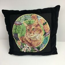 Vintage Needlepoint Pillow Orange Cat Black Velvet Cushion Square