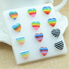 6 Pair Heart-shaped Rainbow Flag LGBT Pride Charm earring Resin Weave Plaited ga