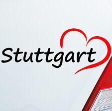 Voiture Autocollant Stuttgart 19x8cm COEUR VILLE CITY Sticker Amour Love Heart 809
