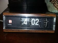 VTG COPAL Model 227 Flip Alarm Clock Woodgrain Japan Tested - Light Clock Alarm