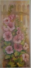 Hollyhocks picket fence by Marge Brandt, signed Limited Edition, 12.5x28.5