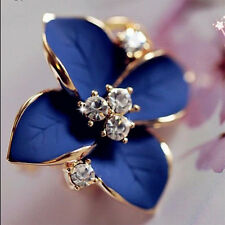 Lady Girls Blue Flower Charm Perfect Crystal Ear Stud Earrings korean style