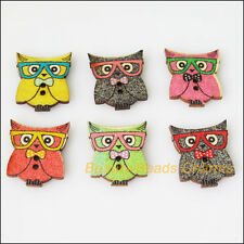 10Pcs Mixed Wooden Animal Owl Birds Buttons Fit Scrapbooking Sewing 21.5x24mm