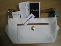 Coach Madison purse handbag sateen white fabric leather BNWT BRAND NEW 8370