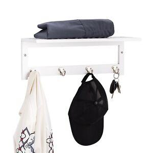 White Bamboo Wooden Wall Mounted Bathroom Towel Rail Holder Shelf Storage Rack