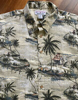 Men's Boca Classics Hawaiian Camp Shirt Size L ~ Tiki Hut, Palm Trees & Islands