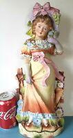 """LARGE Antique German Porcelain Bisque Figurine Victorian Lady Woman16"""" W/ Damage"""