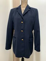 LL Bean Women's Blazer Navy Blue Jacket Button Front Size 12R Fully Lined