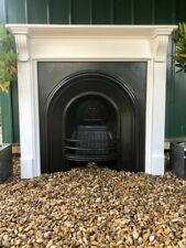 More details for a very beautiful cast iron arched insert fireplace & solid wood surround (81)