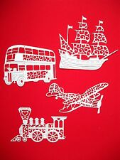 8 Tattered Lace Male: Planes, Buses, Galleons, & Trains, Die Cuts, White. Set 2
