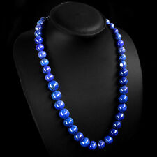MOST STUNNING 553.00 CTS NATURAL GOLD FLAKES BLUE LAPIS LAZULI BEADS NECKLACE