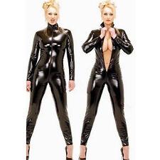 Women Wetlook Vinyl PVC Teddies Catsuit Bodysuit Uniform Jumpsuit Costume Teddy