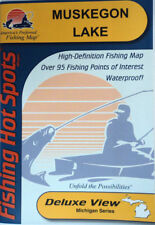 Muskegon Lake Detailed Fishing Lake Map, GPS Pt, Waterproof, Depth Contour #M303