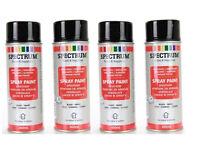 4 Bombes Noir Brillante Peinture en  Aérosol  Spray 400 ml Bois Metal Plastique