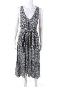 A.L.C. Womens Sleeveless V Neck Printed Midi Dress White Size 2