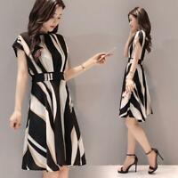 Elegant Stripe Print Dress Women O-neck Short Sleeve Tunic A-line Dresses M-3XL