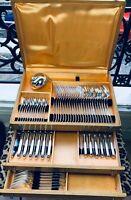Christofle Flatware Boreal Luc Lanel 85 pcs Table Dinner set Art Deco 12 Pers