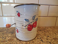 Vintage Bromwell's RED APPLES Flour Sifter with Wood Knob Handle 3 Cup Measuring