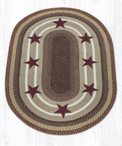Capitol Earth Rug Country Farmhouse Primitive Burgandy Stars Area Rug OP-357