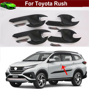 Carton Fiber Side Door Handle Frame Cover Molding Trim for Toyota Rush 2018-2021