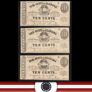 CONSECUTIVE 1863 10c STATE of ALABAMA OBSOLETE SOUTHERN CURRENCY  53251-AS-P