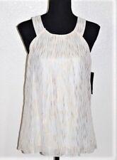 BCX Foil Printed Sleeveless Halter Top-Juniors/Women's Size MEDIUM/White&Gold