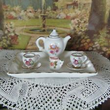 Miniature Limoges France Teaset Porcelain Teapot Plate Dollhouse Doll Toy Dish