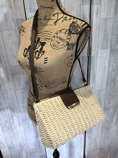 Beige Wicker Shoulder Bag, Faux Leather Straps NWOT