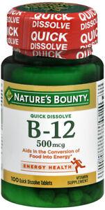 NATURES BOUNTY VITAMIN B12 500MCG LOZENGE 100CT