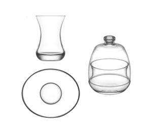 Teegläser Set LAV BASAK * 28-teilig * inkl. Zuckerdose Türkisches Teeset Teeglas