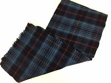 "Australian Wool Scarf 100% USA Made Blue Red Plaid Fringe 47 x 9.75"" Muffler"