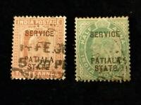 Großbritannien Kolonie Indien  PATIALA STATE 1895 - 1907 - 2 Marken König Georg
