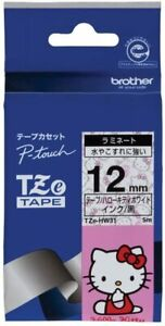 P-touch laminated tape TZe-HW31 width 12mm black letters / Hello Kitty white