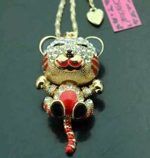 Betsey Johnson Baby Tiger Red Enamel Crystals Adorable