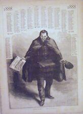 GRAVURE D' APRES DESSIN DE GUILLIOD 19è CALENDRIER 1888 BONNE ANNEE LE FACTEUR