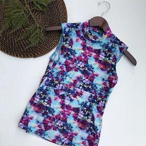 Athleta Floral Tank Top Rashguard Swim Colorful Fade Rafofa  Mock Neck XXS