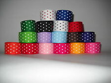 GROSGRAIN RIBBON  5 YARDS OF 7/8 INCH SWISS DOT FOR HAIR BOWS 17 COLORS CRAFTS