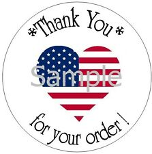 """ALL AMERICAN HEART THANK YOU - 1"""" STICKER / SEAL LABELS"""