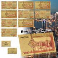 WR 10pcs Gold Hong Kong $1 Million Banknote Chinese Dragon Bill Money Nice Gift