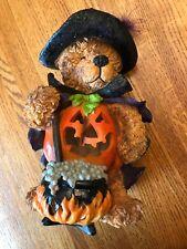 Halloween Teddy Bear Witch Costume Jack-o-Lantern Candle Holder Fall Decor