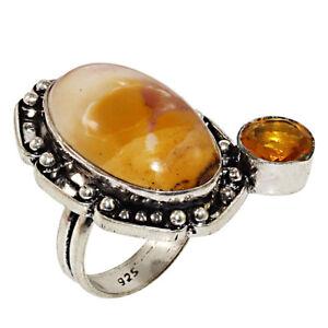 """Mookaite Jasper Gemstone Gift Wedding anniversary 925 Silver Jewelry Ring """"7.5"""""""