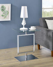 Kings Brand Furniture - Molein Modern Accent Side End Table, Chrome Metal/Glass